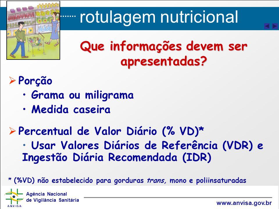 rotulagem nutricional Agência Nacional de Vigilância Sanitária www.anvisa.gov.br Que informações devem ser apresentadas?   Porção Grama ou miligrama