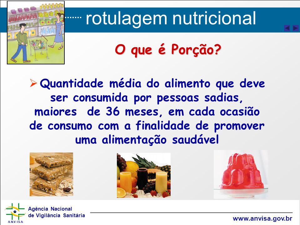 rotulagem nutricional Agência Nacional de Vigilância Sanitária www.anvisa.gov.br O que é Porção?   Quantidade média do alimento que deve ser consumi