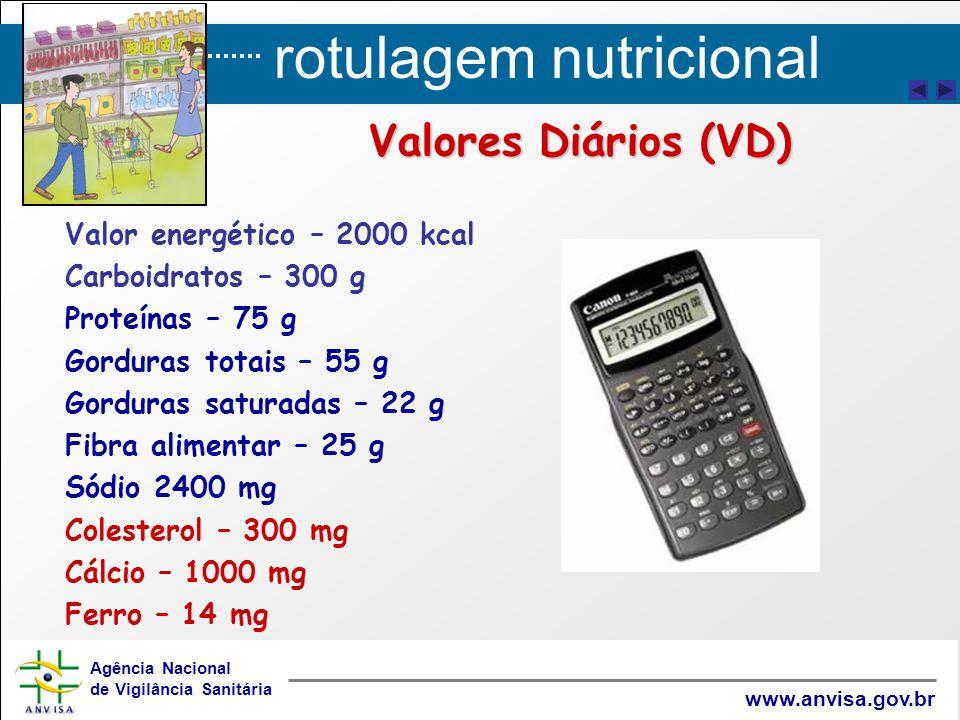 rotulagem nutricional Agência Nacional de Vigilância Sanitária www.anvisa.gov.br Valores Diários (VD) Valor energético – 2000 kcal Carboidratos – 300