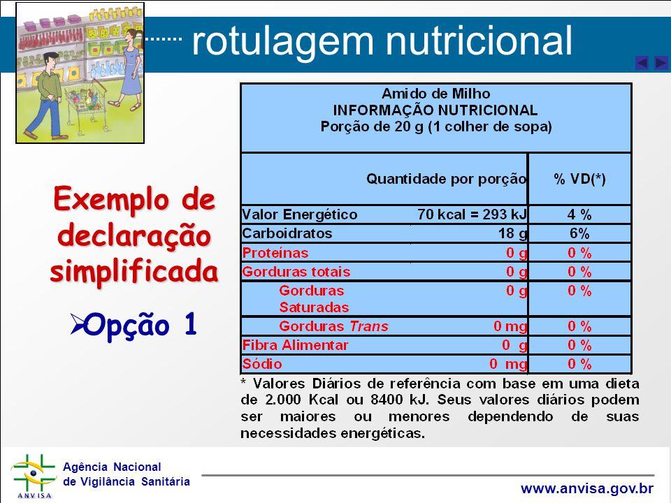 rotulagem nutricional Agência Nacional de Vigilância Sanitária www.anvisa.gov.br Exemplo de declaração simplificada   Opção 1
