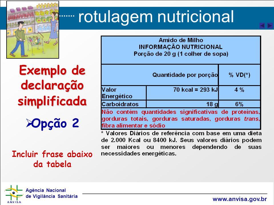 rotulagem nutricional Agência Nacional de Vigilância Sanitária www.anvisa.gov.br Exemplo de declaração simplificada   Opção 2 Incluir frase abaixo da tabela