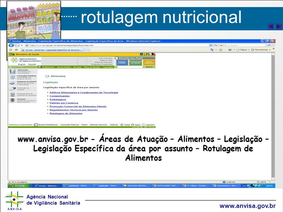 rotulagem nutricional Agência Nacional de Vigilância Sanitária www.anvisa.gov.br Informações do sítio eletrônico ANVISA www.anvisa.gov.br - Áreas de Atuação – Alimentos – Legislação – Legislação Específica da área por assunto – Rotulagem de Alimentos