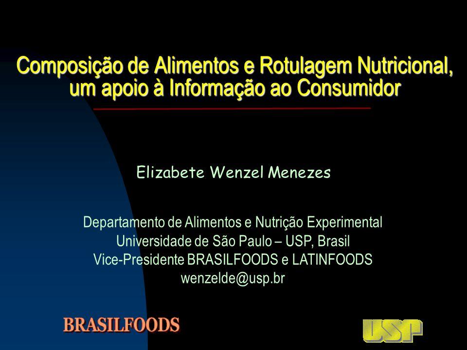 Composição de Alimentos e Rotulagem Nutricional, um apoio à Informação ao Consumidor Elizabete Wenzel Menezes Departamento de Alimentos e Nutrição Exp