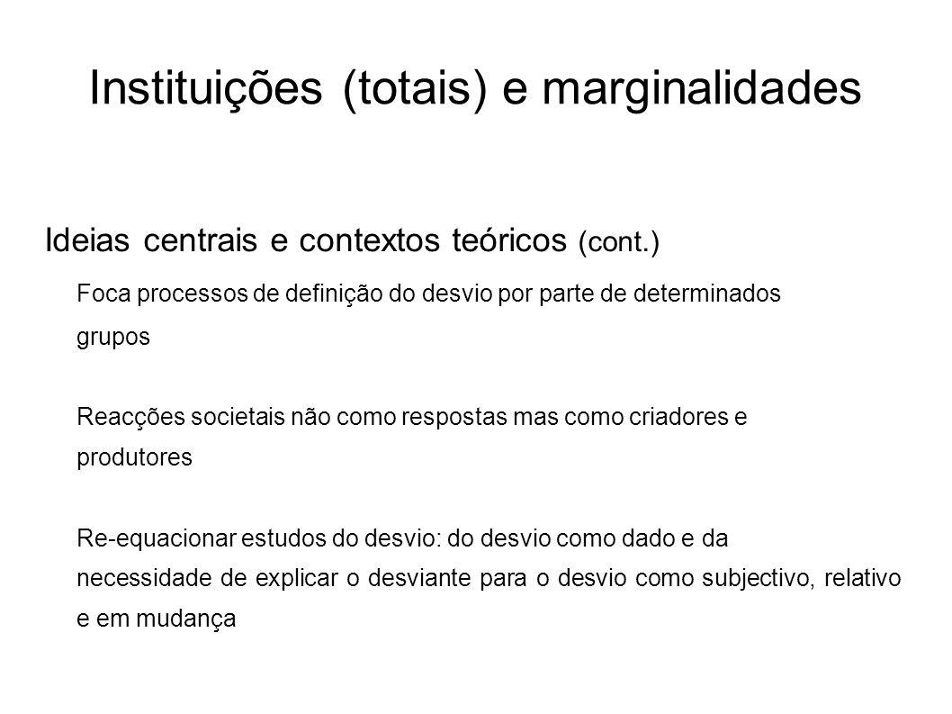 Instituições (totais) e marginalidades Ideias centrais e contextos teóricos (cont.) Foca processos de definição do desvio por parte de determinados gr