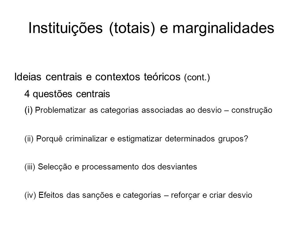 Instituições (totais) e marginalidades Ideias centrais e contextos teóricos (cont.) 4 questões centrais (i) Problematizar as categorias associadas ao