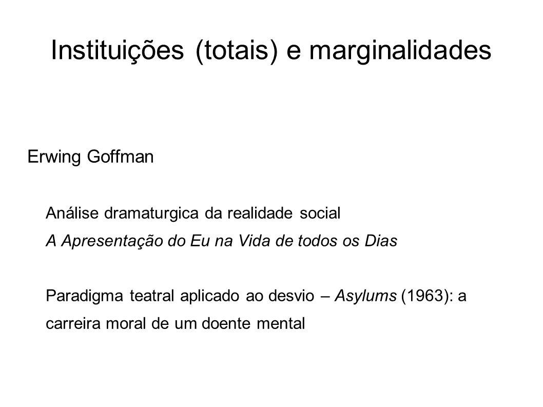 Instituições (totais) e marginalidades Erwing Goffman Análise dramaturgica da realidade social A Apresentação do Eu na Vida de todos os Dias Paradigma