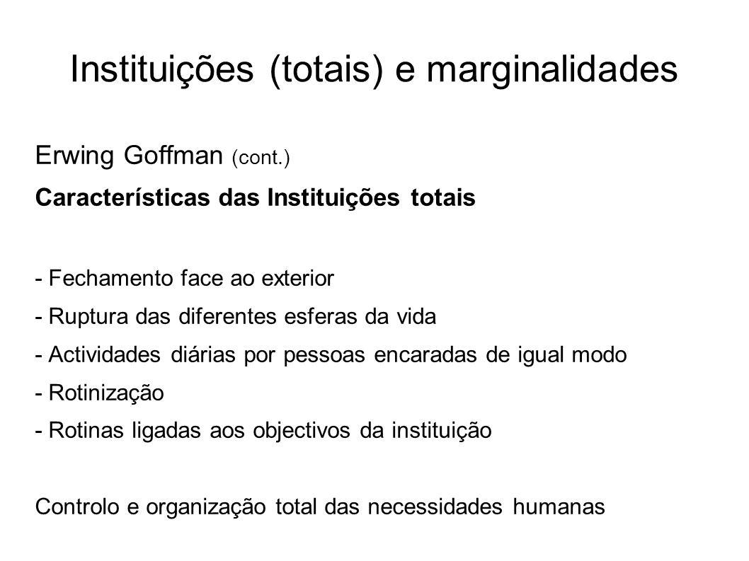 Instituições (totais) e marginalidades Erwing Goffman (cont.) Características das Instituições totais - Fechamento face ao exterior - Ruptura das dife
