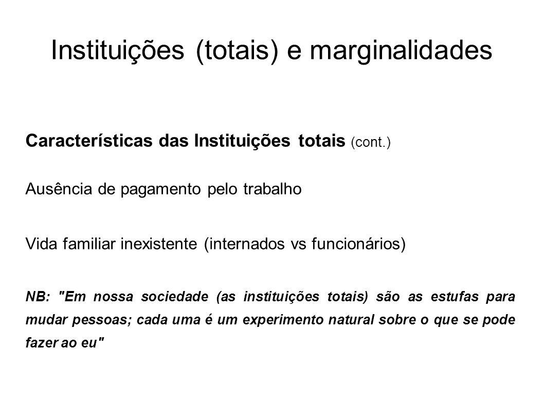 Instituições (totais) e marginalidades Características das Instituições totais (cont.) Ausência de pagamento pelo trabalho Vida familiar inexistente (