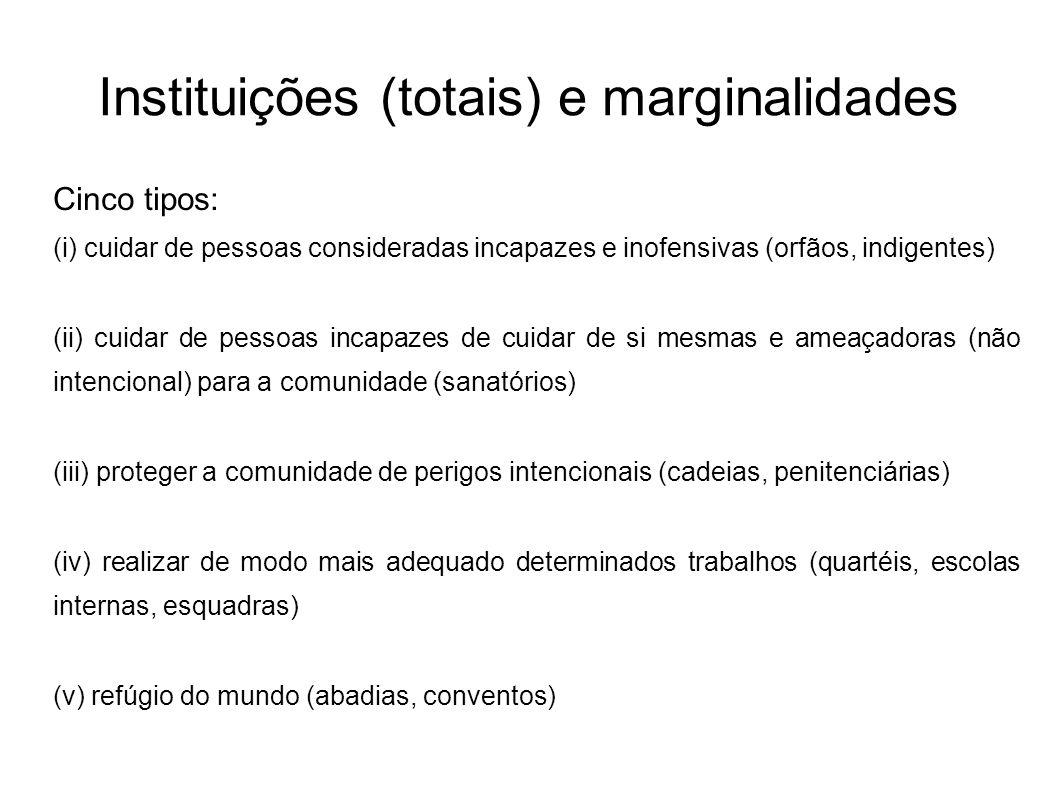 Instituições (totais) e marginalidades Cinco tipos: (i) cuidar de pessoas consideradas incapazes e inofensivas (orfãos, indigentes) (ii) cuidar de pes