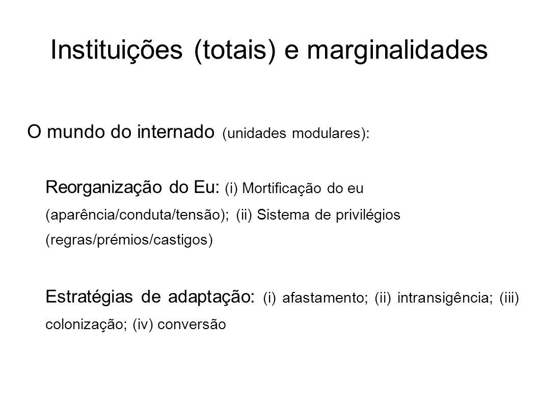 Instituições (totais) e marginalidades O mundo do internado (unidades modulares): Reorganização do Eu: (i) Mortificação do eu (aparência/conduta/tensã