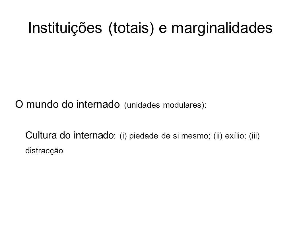 Instituições (totais) e marginalidades O mundo do internado (unidades modulares): Cultura do internado : (i) piedade de si mesmo; (ii) exílio; (iii) d