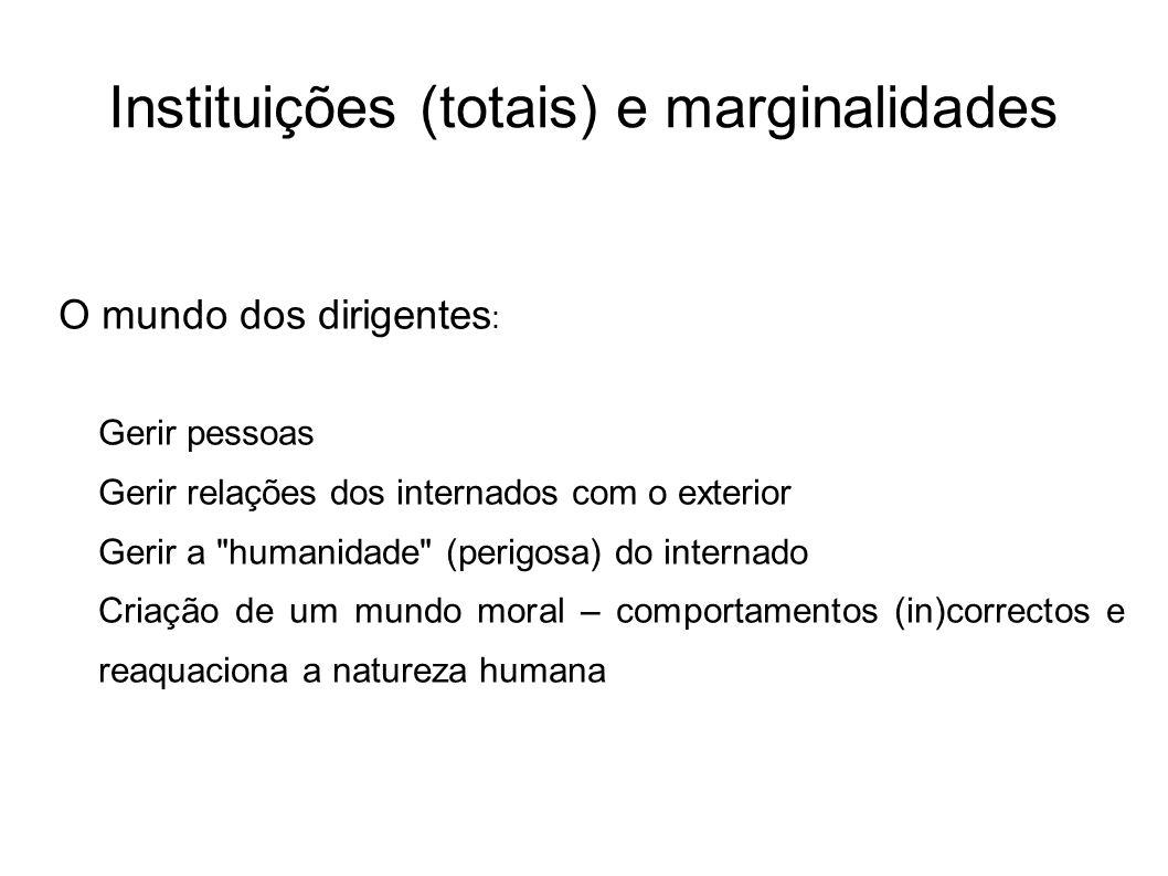 Instituições (totais) e marginalidades O mundo dos dirigentes : Gerir pessoas Gerir relações dos internados com o exterior Gerir a