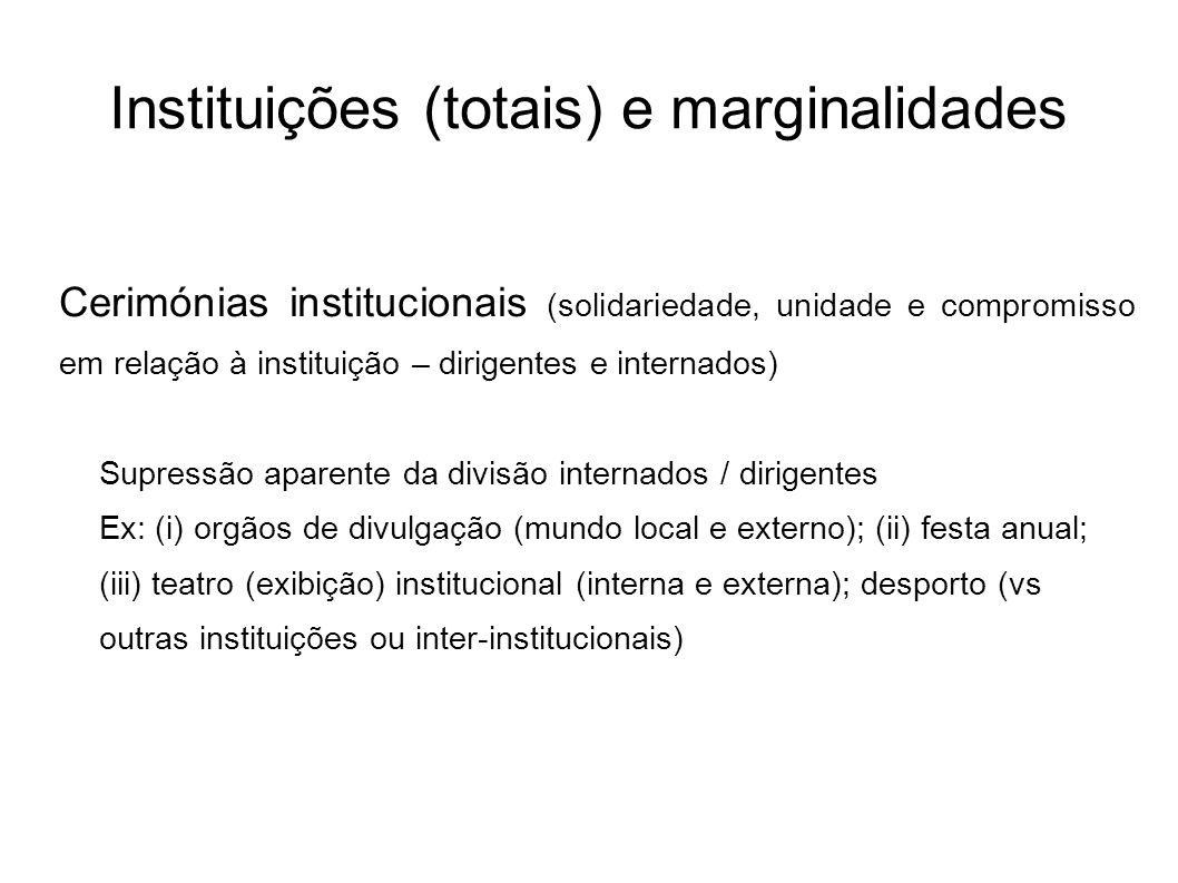 Instituições (totais) e marginalidades Cerimónias institucionais (solidariedade, unidade e compromisso em relação à instituição – dirigentes e interna