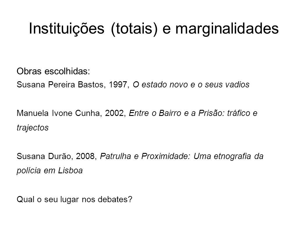 Obras escolhidas: Susana Pereira Bastos, 1997, O estado novo e o seus vadios Manuela Ivone Cunha, 2002, Entre o Bairro e a Prisão: tráfico e trajectos
