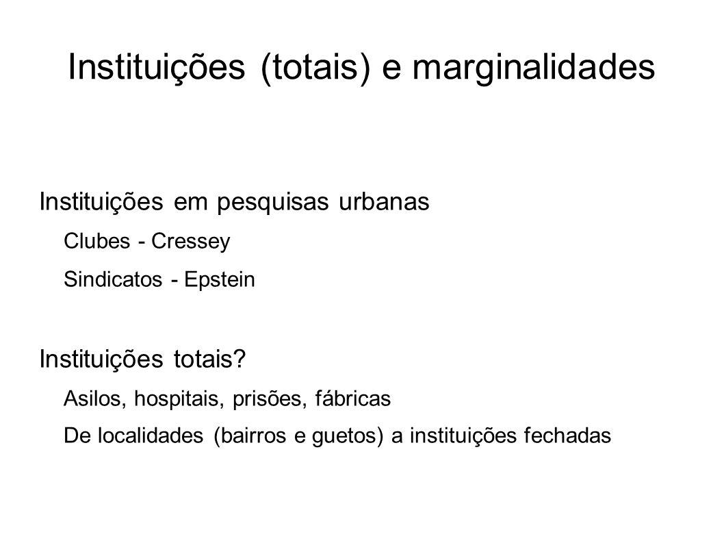 Instituições (totais) e marginalidades Instituições em pesquisas urbanas Clubes - Cressey Sindicatos - Epstein Instituições totais? Asilos, hospitais,