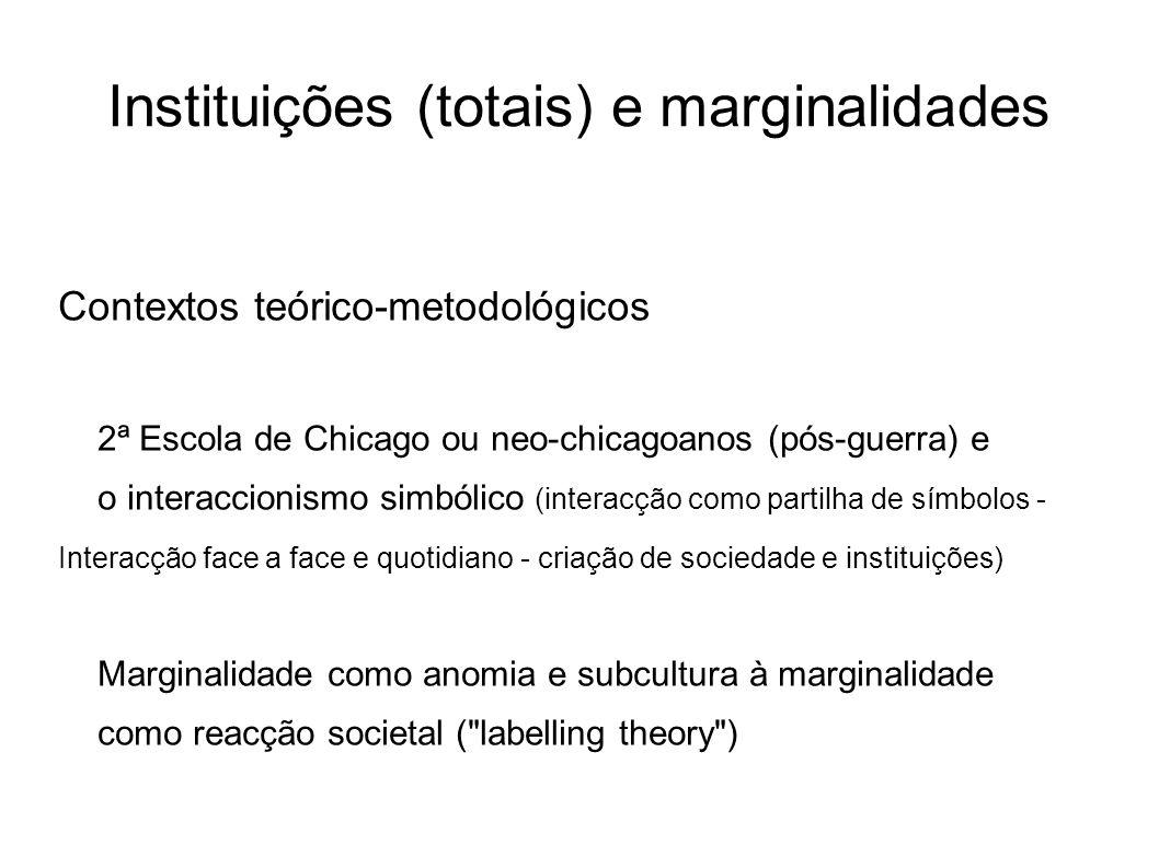 Instituições (totais) e marginalidades Contextos teórico-metodológicos 2ª Escola de Chicago ou neo-chicagoanos (pós-guerra) e o interaccionismo simból