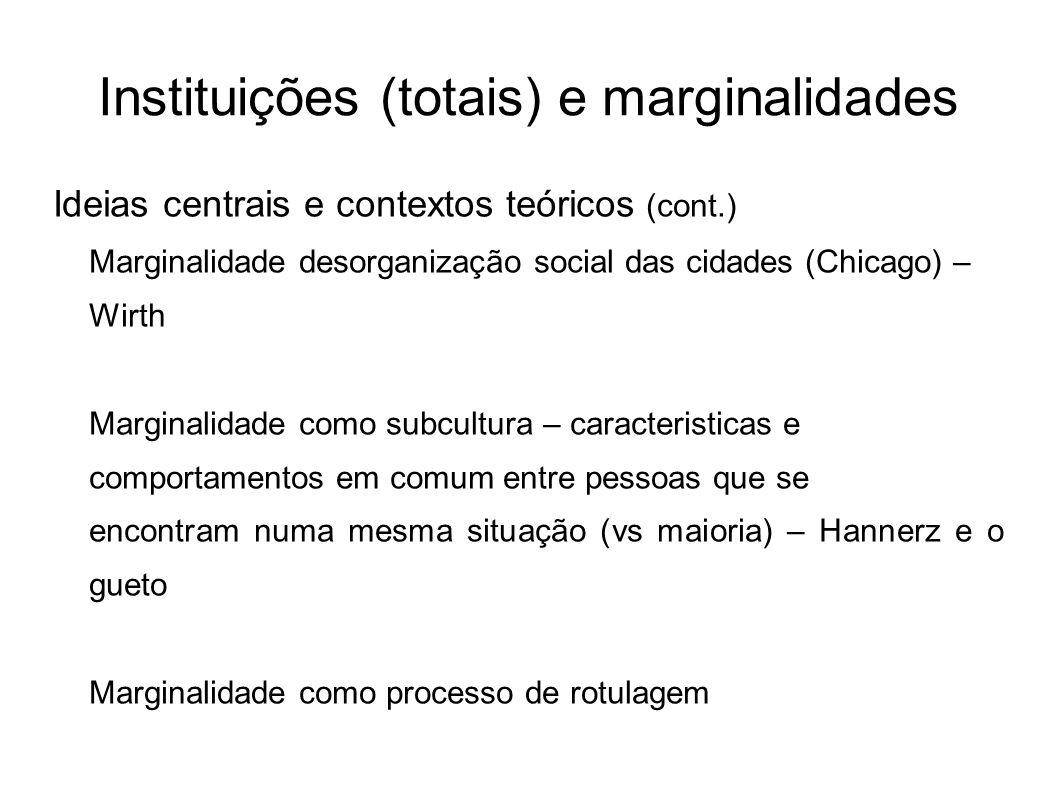 Instituições (totais) e marginalidades Ideias centrais e contextos teóricos (cont.) Marginalidade desorganização social das cidades (Chicago) – Wirth