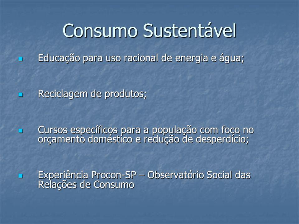 Consumo Sustentável Educação para uso racional de energia e água; Educação para uso racional de energia e água; Reciclagem de produtos; Reciclagem de produtos; Cursos específicos para a população com foco no orçamento doméstico e redução de desperdício; Cursos específicos para a população com foco no orçamento doméstico e redução de desperdício; Experiência Procon-SP – Observatório Social das Relações de Consumo Experiência Procon-SP – Observatório Social das Relações de Consumo