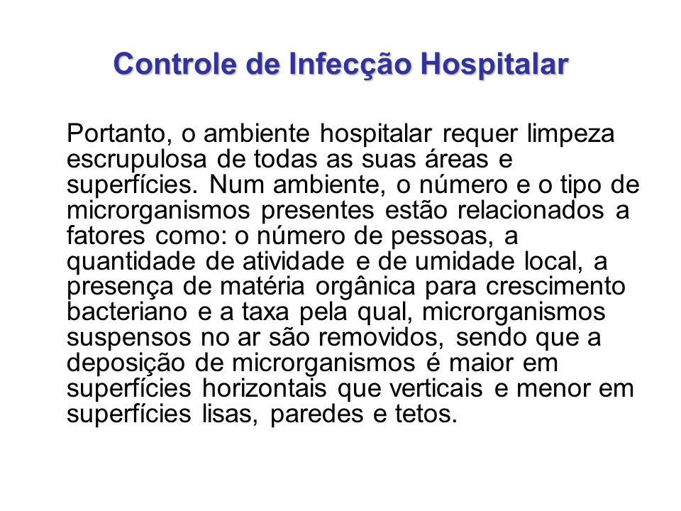 Controle de Infecção Hospitalar Portanto, o ambiente hospitalar requer limpeza escrupulosa de todas as suas áreas e superfícies. Num ambiente, o númer