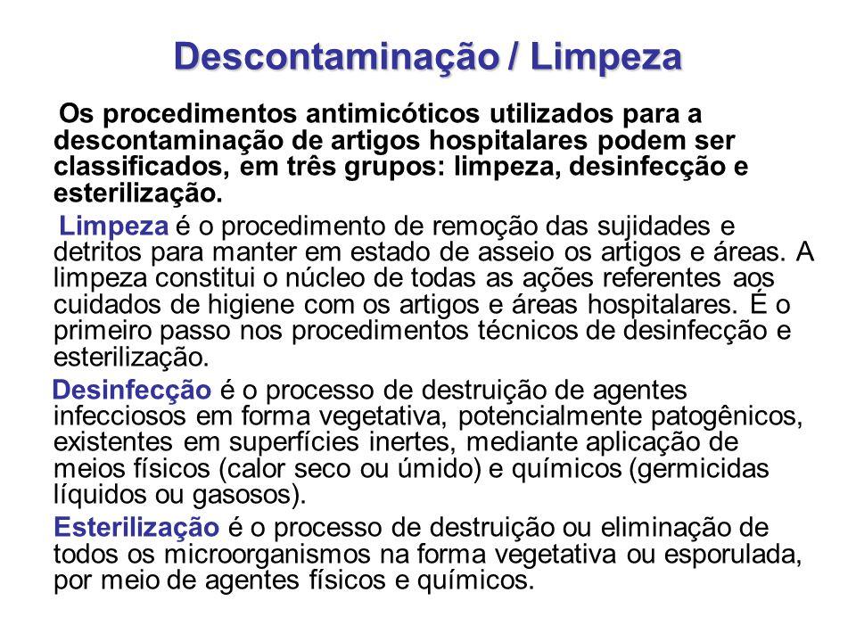 Descontaminação / Limpeza Os procedimentos antimicóticos utilizados para a descontaminação de artigos hospitalares podem ser classificados, em três gr