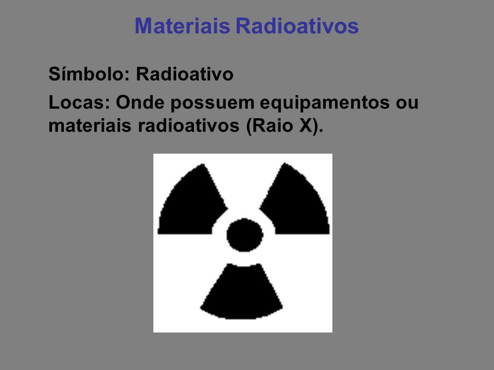 Materiais Radioativos Símbolo: Radioativo Locas: Onde possuem equipamentos ou materiais radioativos (Raio X).