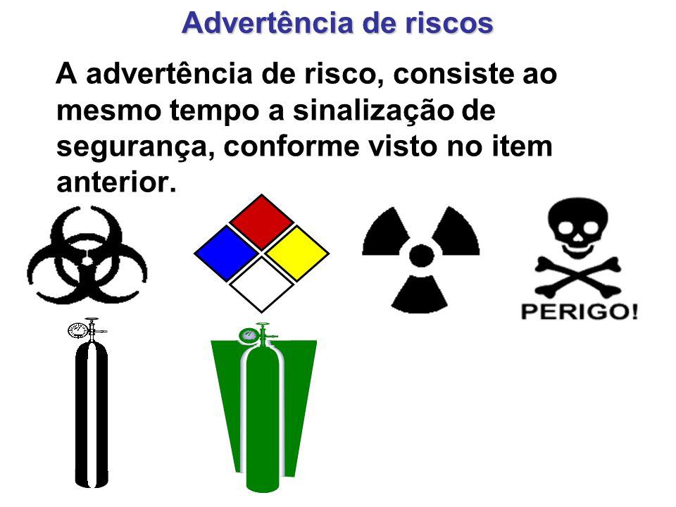 Advertência de riscos A advertência de risco, consiste ao mesmo tempo a sinalização de segurança, conforme visto no item anterior.