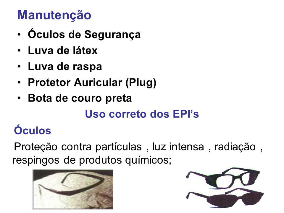 Manutenção Óculos de Segurança Luva de látex Luva de raspa Protetor Auricular (Plug) Bota de couro preta Uso correto dos EPI's Óculos Proteção contra