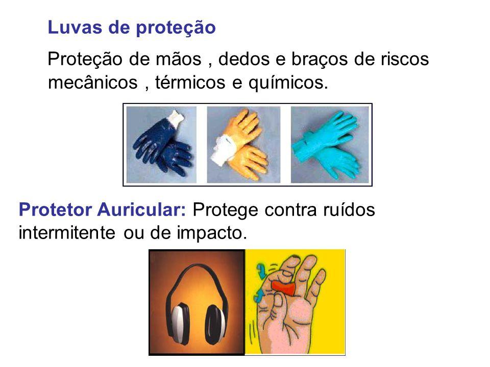 Luvas de proteção Proteção de mãos, dedos e braços de riscos mecânicos, térmicos e químicos. Protetor Auricular: Protege contra ruídos intermitente ou