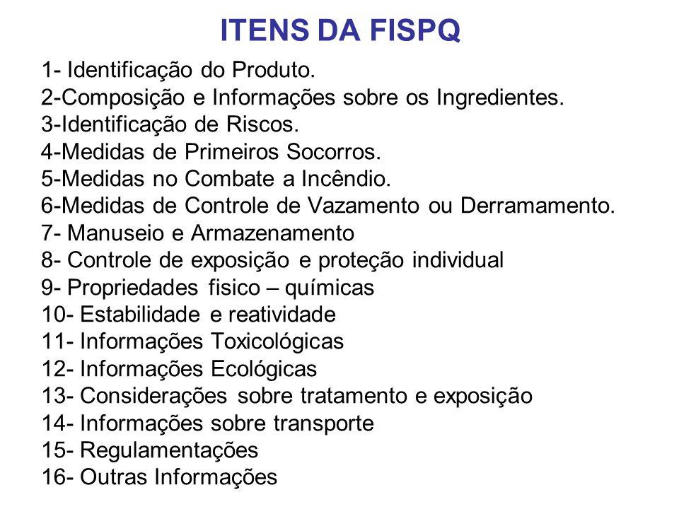 ITENS DA FISPQ 1- Identificação do Produto. 2-Composição e Informações sobre os Ingredientes. 3-Identificação de Riscos. 4-Medidas de Primeiros Socorr