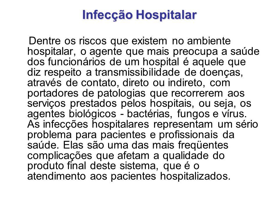 Infecção Hospitalar Dentre os riscos que existem no ambiente hospitalar, o agente que mais preocupa a saúde dos funcionários de um hospital é aquele q