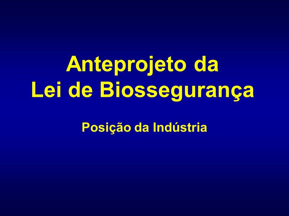 Anteprojeto da Lei de Biossegurança Posição da Indústria