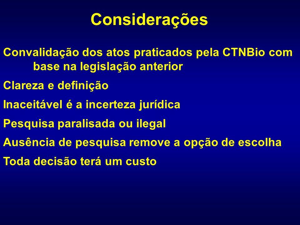 Convalidação dos atos praticados pela CTNBio com base na legislação anterior Clareza e definição Inaceitável é a incerteza jurídica Pesquisa paralisad