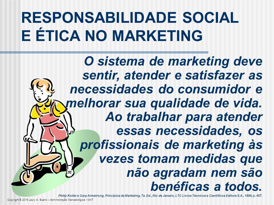RESPONSABILIDADE SOCIAL E ÉTICA NO MARKETING O sistema de marketing deve sentir, atender e satisfazer as necessidades do consumidor e melhorar sua qua