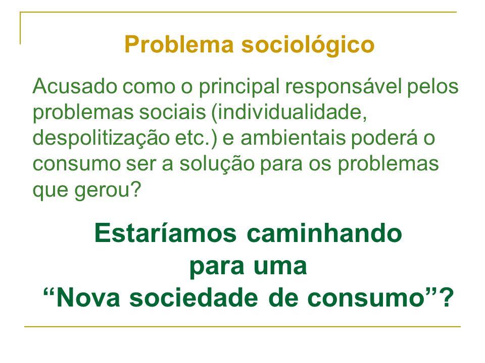 """Estaríamos caminhando para uma """"Nova sociedade de consumo""""? Problema sociológico Acusado como o principal responsável pelos problemas sociais (individ"""