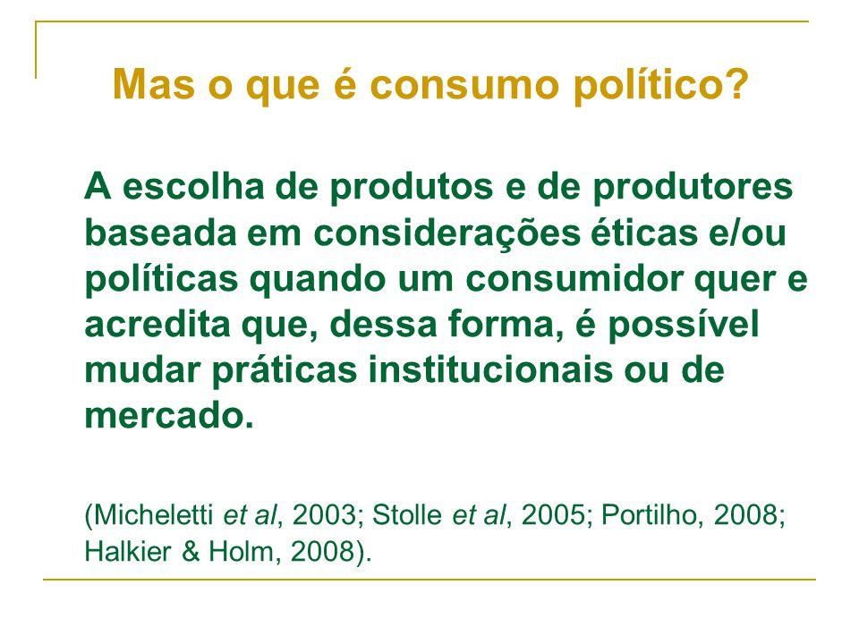 A escolha de produtos e de produtores baseada em considerações éticas e/ou políticas quando um consumidor quer e acredita que, dessa forma, é possível