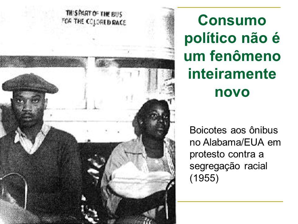 Consumo político não é um fenômeno inteiramente novo Boicotes aos ônibus no Alabama/EUA em protesto contra a segregação racial (1955)
