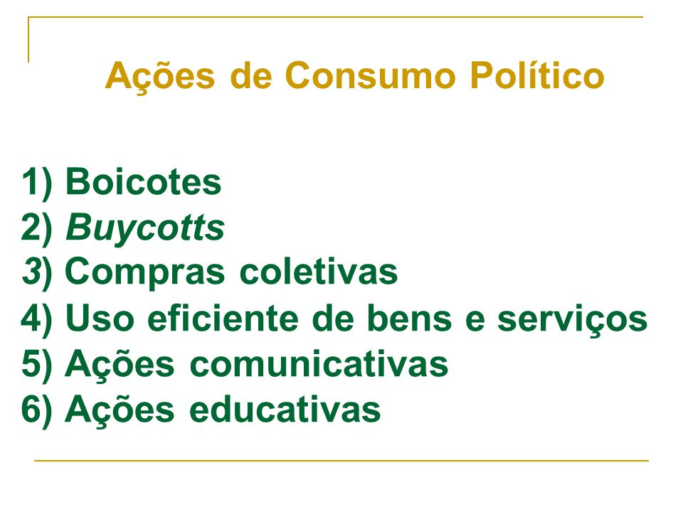 1) Boicotes 2) Buycotts 3) Compras coletivas 4) Uso eficiente de bens e serviços 5) Ações comunicativas 6) Ações educativas Ações de Consumo Político