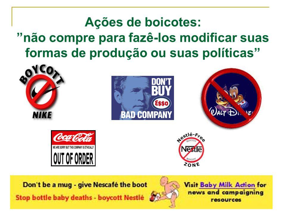 """Ações de boicotes: """"não compre para fazê-los modificar suas formas de produção ou suas políticas"""""""