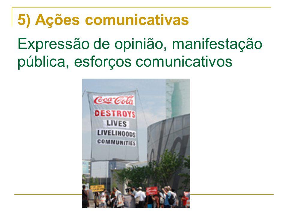5) Ações comunicativas Expressão de opinião, manifestação pública, esforços comunicativos