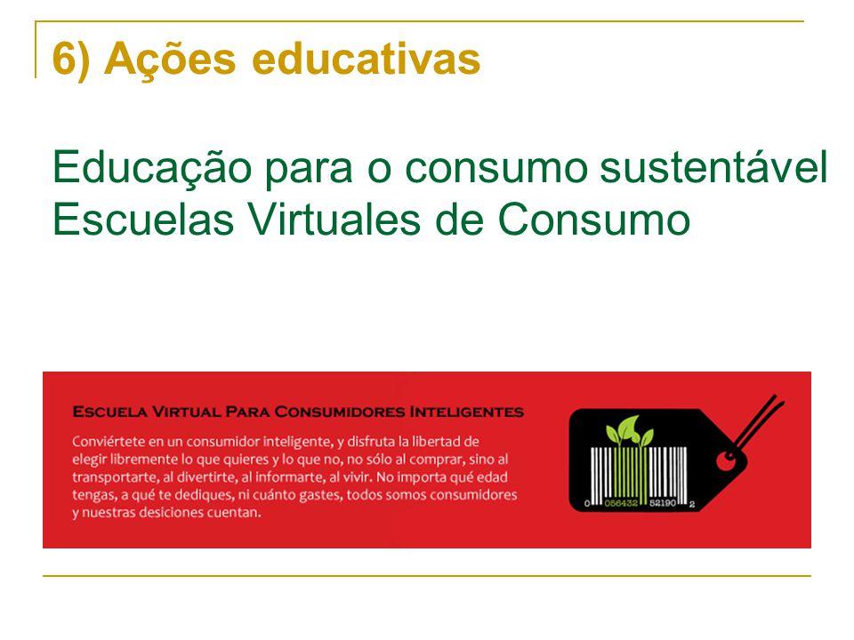 6) Ações educativas Educação para o consumo sustentável Escuelas Virtuales de Consumo