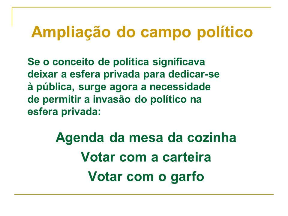 Se o conceito de política significava deixar a esfera privada para dedicar-se à pública, surge agora a necessidade de permitir a invasão do político n