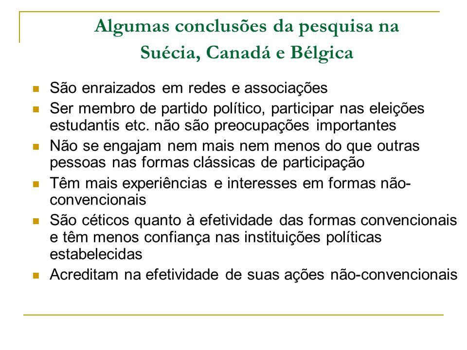 Algumas conclusões da pesquisa na Suécia, Canadá e Bélgica São enraizados em redes e associações Ser membro de partido político, participar nas eleiçõ