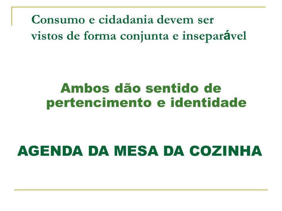 Consumo e cidadania devem ser vistos de forma conjunta e insepar á vel Ambos dão sentido de pertencimento e identidade AGENDA DA MESA DA COZINHA