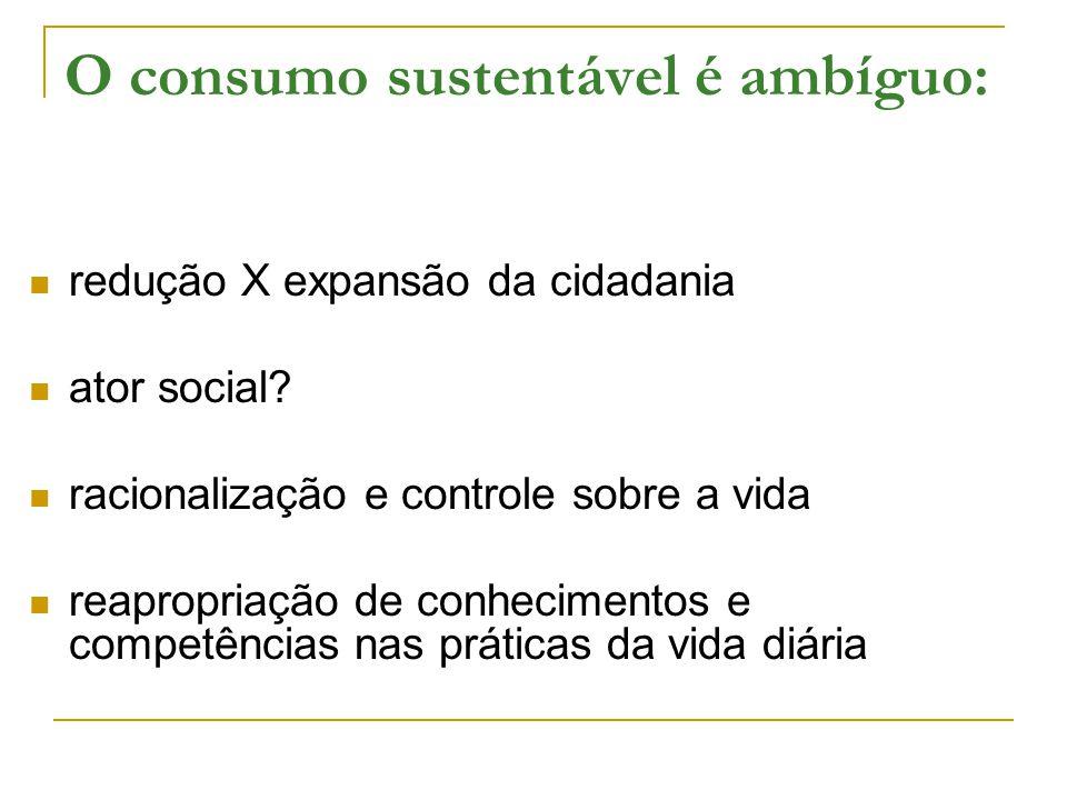 O consumo sustentável é ambíguo: redução X expansão da cidadania ator social? racionalização e controle sobre a vida reapropriação de conhecimentos e