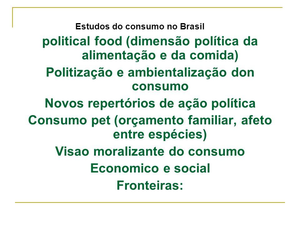 Estudos do consumo no Brasil political food (dimensão política da alimentação e da comida) Politização e ambientalização don consumo Novos repertórios