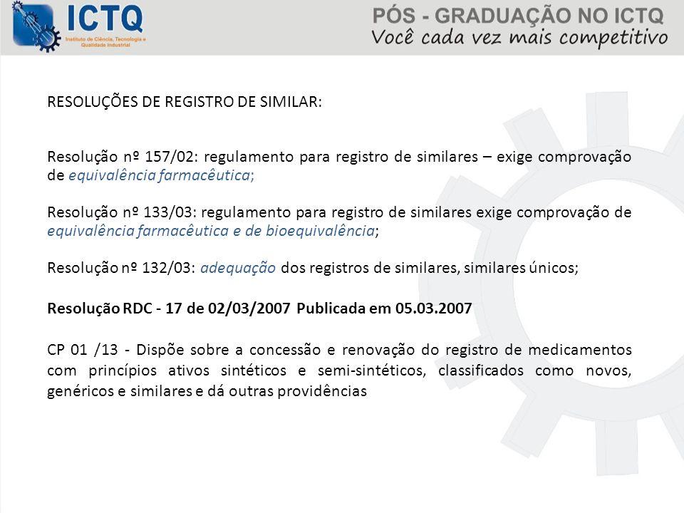 RESOLUÇÕES DE REGISTRO DE SIMILAR: Resolução nº 157/02: regulamento para registro de similares – exige comprovação de equivalência farmacêutica; Resol