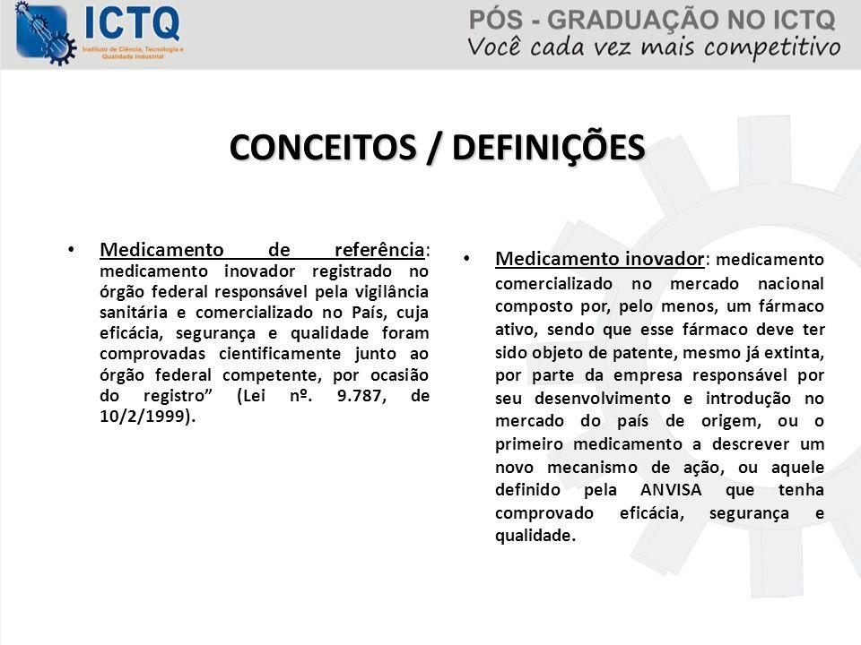 Medicamento de referência: medicamento inovador registrado no órgão federal responsável pela vigilância sanitária e comercializado no País, cuja eficá