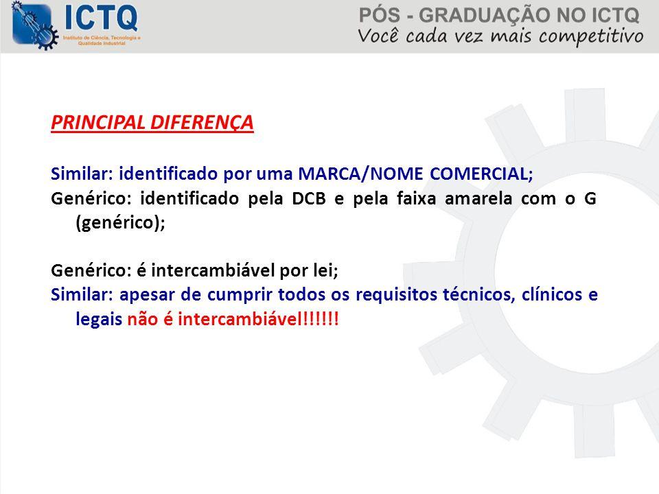 PRINCIPAL DIFERENÇA Similar: identificado por uma MARCA/NOME COMERCIAL; Genérico: identificado pela DCB e pela faixa amarela com o G (genérico); Genér