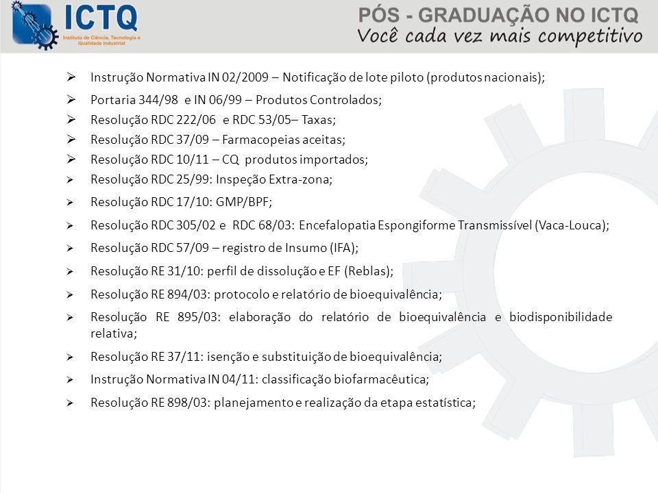  Instrução Normativa IN 02/2009 – Notificação de lote piloto (produtos nacionais);  Portaria 344/98 e IN 06/99 – Produtos Controlados;  Resolução R