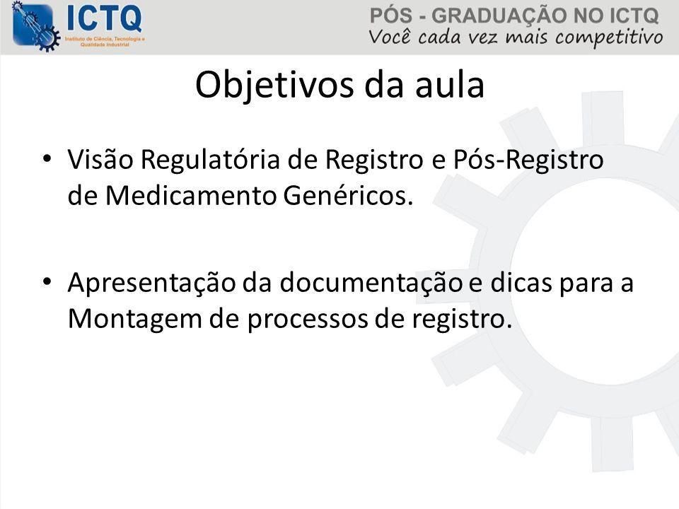 Objetivos da aula Visão Regulatória de Registro e Pós-Registro de Medicamento Genéricos. Apresentação da documentação e dicas para a Montagem de proce